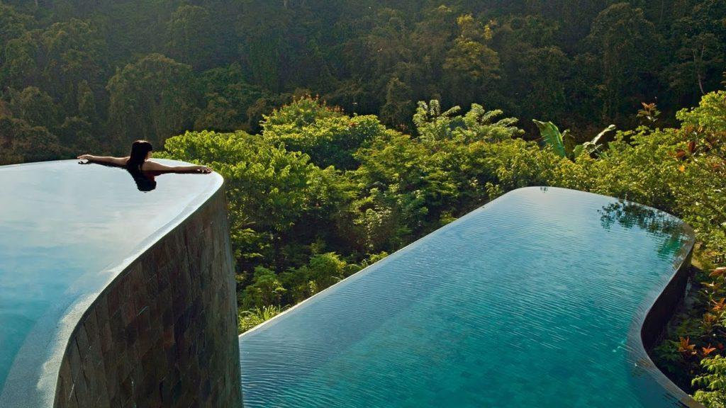 Hanging pools in an idyllic setting
